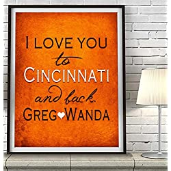 """I Love You to Cincinnati and Back"" Ohio ART PRINT, Customized & Personalized UNFRAMED, Wedding gift, Valentines day gift, Christmas gift, Father's Day gift, Housewarming gift, All Sizes"