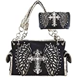 Western Cowgirl Style embroidered angel wings and Rhinestone studded cross Handbag Wallet Set (black)