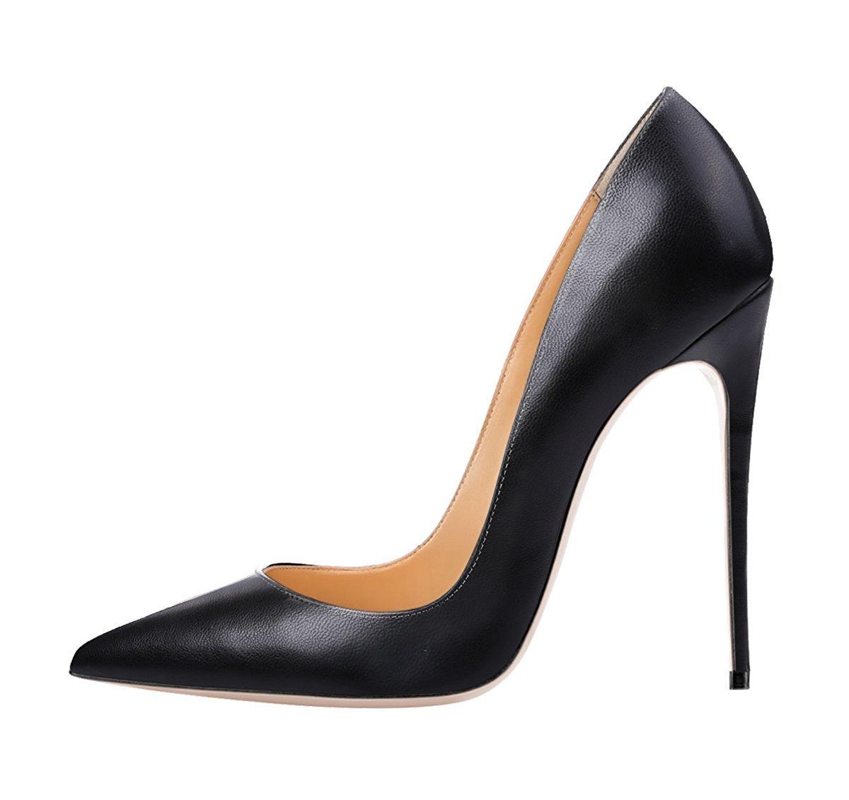 Jushee Damen Sexy Klassische Schwarz Stiletto High Heels Kleid Buuml;ro Pumps45 EU|schwarz02