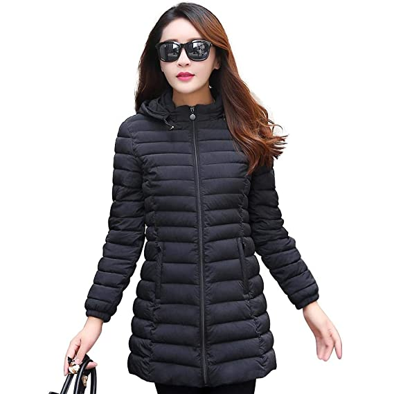 afe7fa77de6 Crazy-Store Winter Women Ultra Light Down Jacket Hooded Warm Slim Fit Coat  Zipper Parka  Amazon.in  Clothing   Accessories