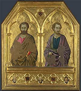 Perfect effect canvas ,the Cheap but High quality Art Decorative Art Decorative Canvas Prints of oil painting 'Ugolino di Nerio Saint Simon and Saint Thaddeus (Jude) ', 12 x 13 inch / 30 x 34 cm is best for Study decor and Home decor and Gifts