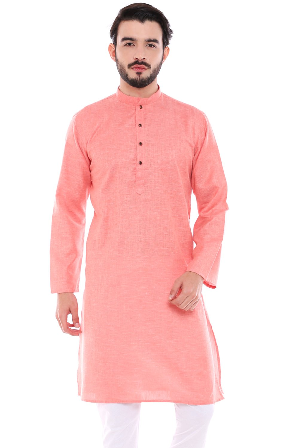 In-Sattva Men's Indian Classic Textured Pure Cotton Kurta Tunic with Band Collar; Coral; MD