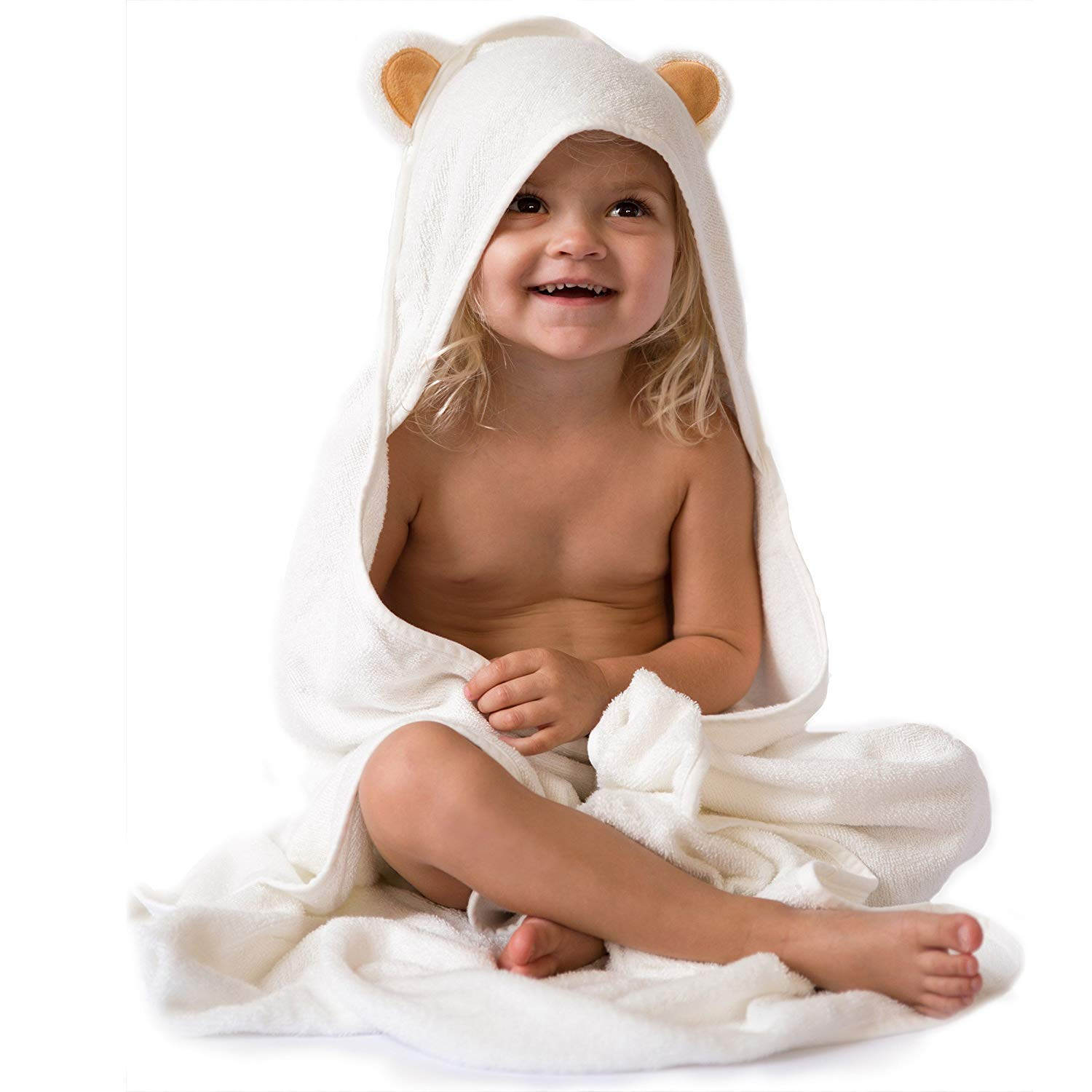 Premium Hooded Baby Towels - Organic Bamboo toddler towel - 3x Thick & Soft Baby Bath Towels with Hood for Boy and Girl - Super Absorbent and Hypoallergenic ...