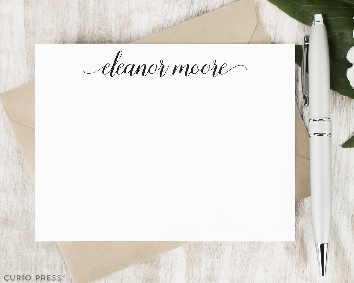 GRACEFUL SCRIPT - Personalized Flat Modern Stationery / Stationary Set