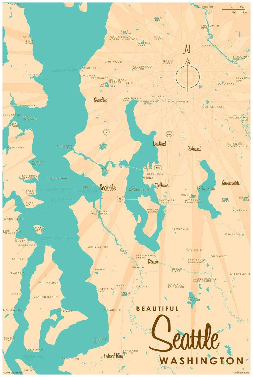 Amazon.com: Seattle Washington Vintage-Style Map Art Print ...