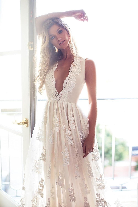 Hippie Wedding Dresses.Mileyhouse Bohemia Lace Bridal Gown V Neck Vintage Long Beach Boho