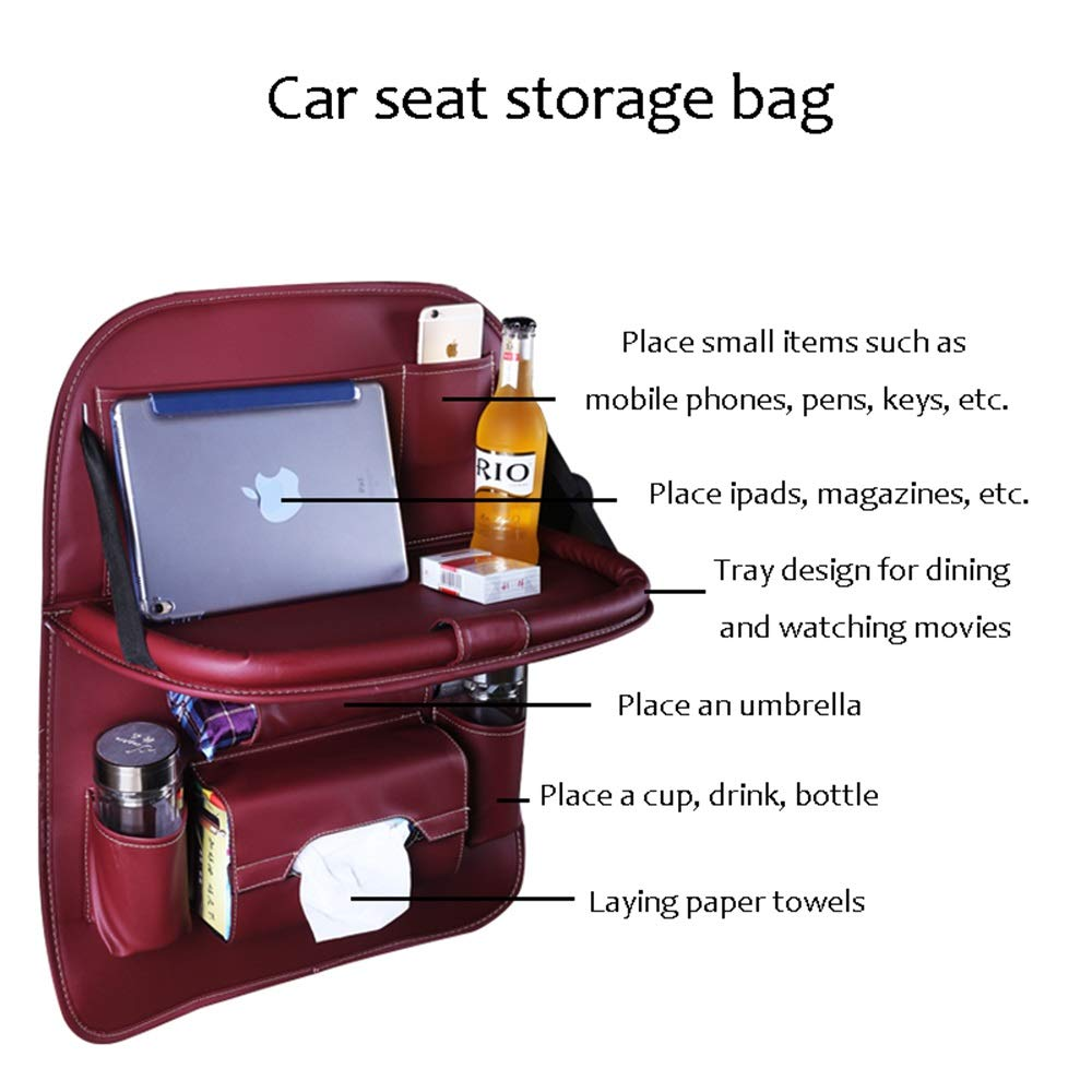 HongTeng Car Hanging Bag Rear Seat Storage Bag Outdoor Travel Accessories Leather Material (Color : C) by HongTeng (Image #2)