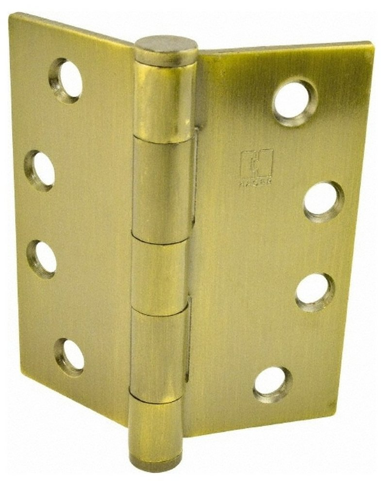 4'' Long x 4'' Wide x 0.062'' Thick, Steel Full Mortise Hinge, Antique Brass Finish, 5 Knuckles