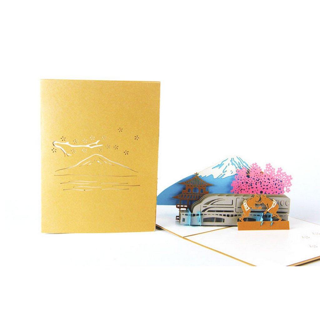 Kofun 3D Pop Up Biglietto di Auguri con Busta di Carta Artigianato Natale Compleanno Capodanno invito Mt. Fuji Memorial 15x20 cm model