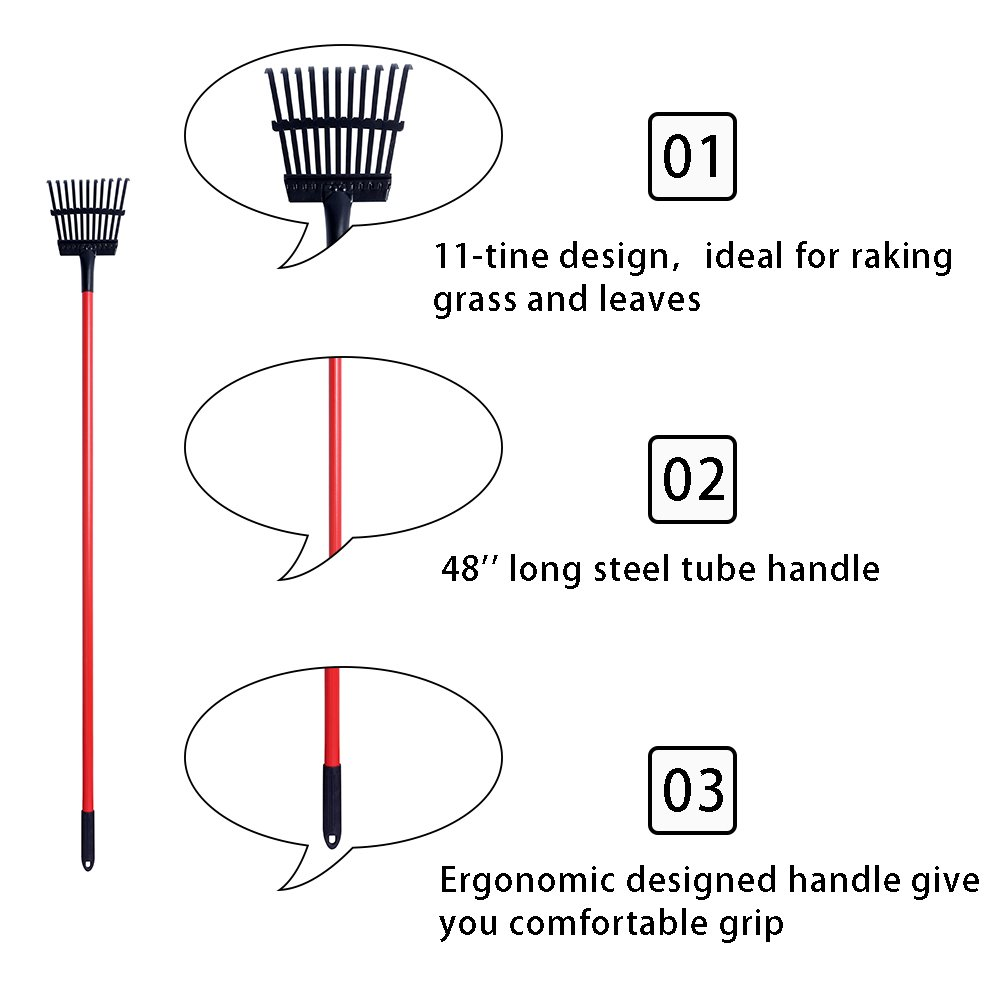 GardenAll 7'' Forged Sidewalk Ice Scraper and 11T Shrub Rake Long Handle Garden Tools Set by GardenAll (Image #4)