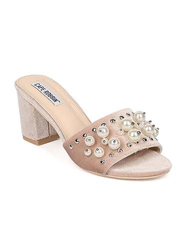 8ad2ac57918 Women Faux Pearl Block Heel Slide - Open Toe Chunky Heel Sandal - Trendy  Hot Stylish