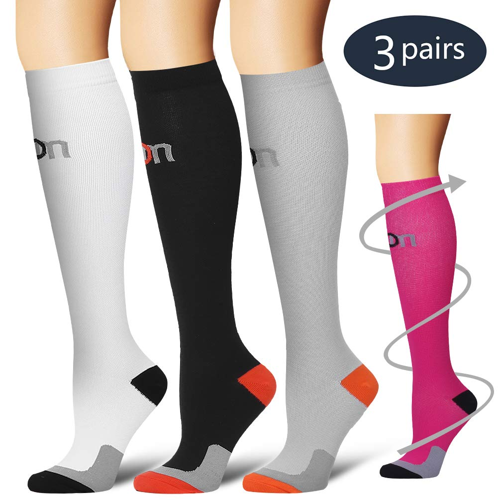 Laite Hebe Compression Socks,(3 Pairs) Compression Sock for Women & Men - Best for Running, Athletic Sports, Crossfit, Flight Travel (Multti-colors4-S/M)