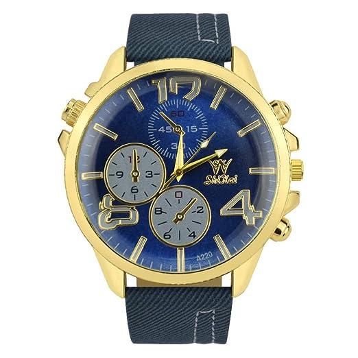 POJIETT Ofertas Relojes Mujer Hombre Reloj Analógico de Cuarzo Correa de Cuero Reloj Dorado Mujer Dama Reloj Militar Deportivo Joyas Regalos: Amazon.es: ...