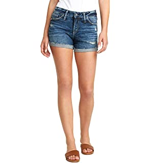 Womens Not Your Boyfriends Short Mid Rise Shorts Jeans Silver Jeans Co
