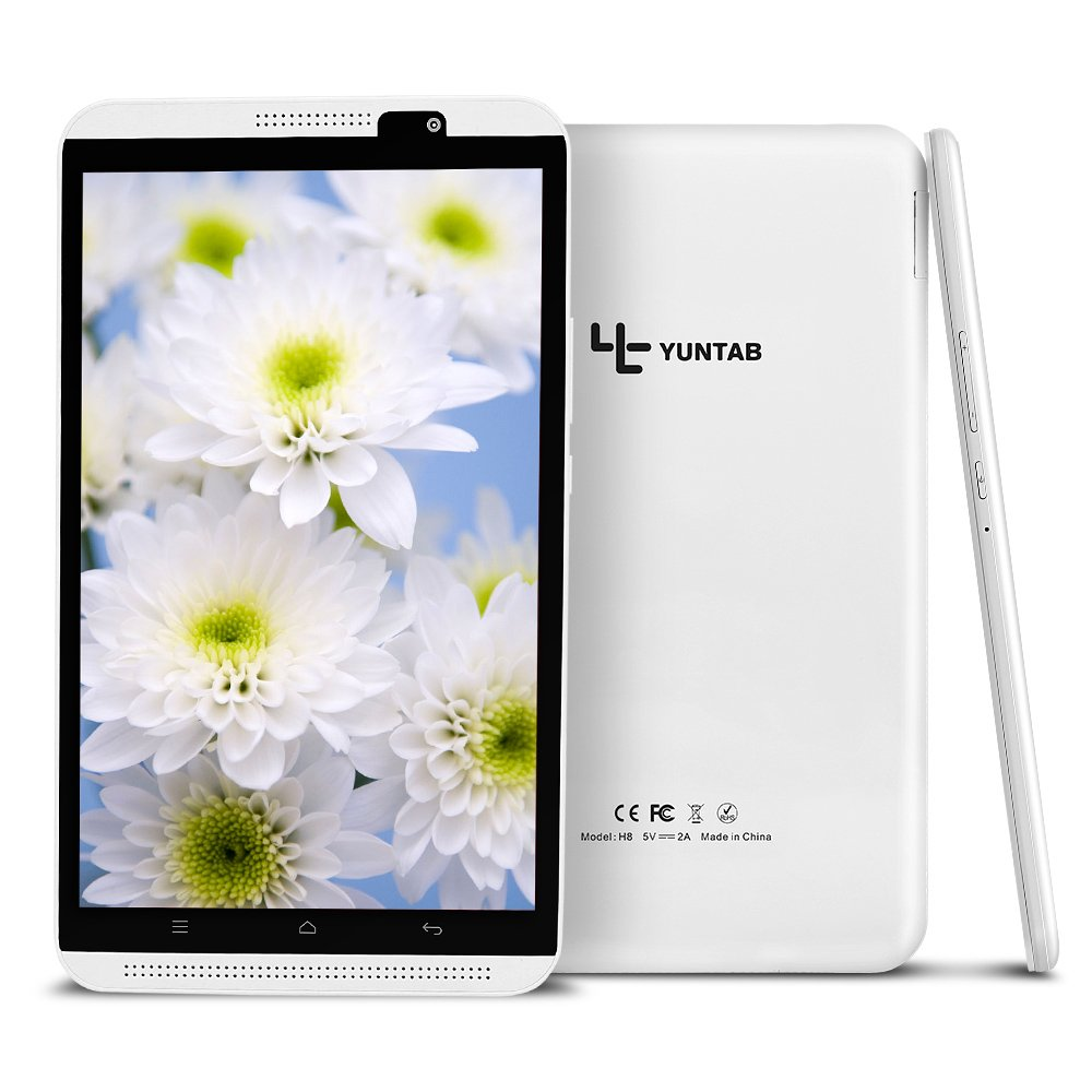 Yuntab H8 8 Inch A53 64bit CPU,1.3Ghz Quad Core Android 6.0,Unlocked Smartphone Phablet Tablet PC,2G+16G,HD 800x1280,Dual Camera 2M+5M,IPS,WiFi,P-Sensor,G-Sensor,GPS,Support 2G/3G/4G(White) by Yuntab (Image #4)