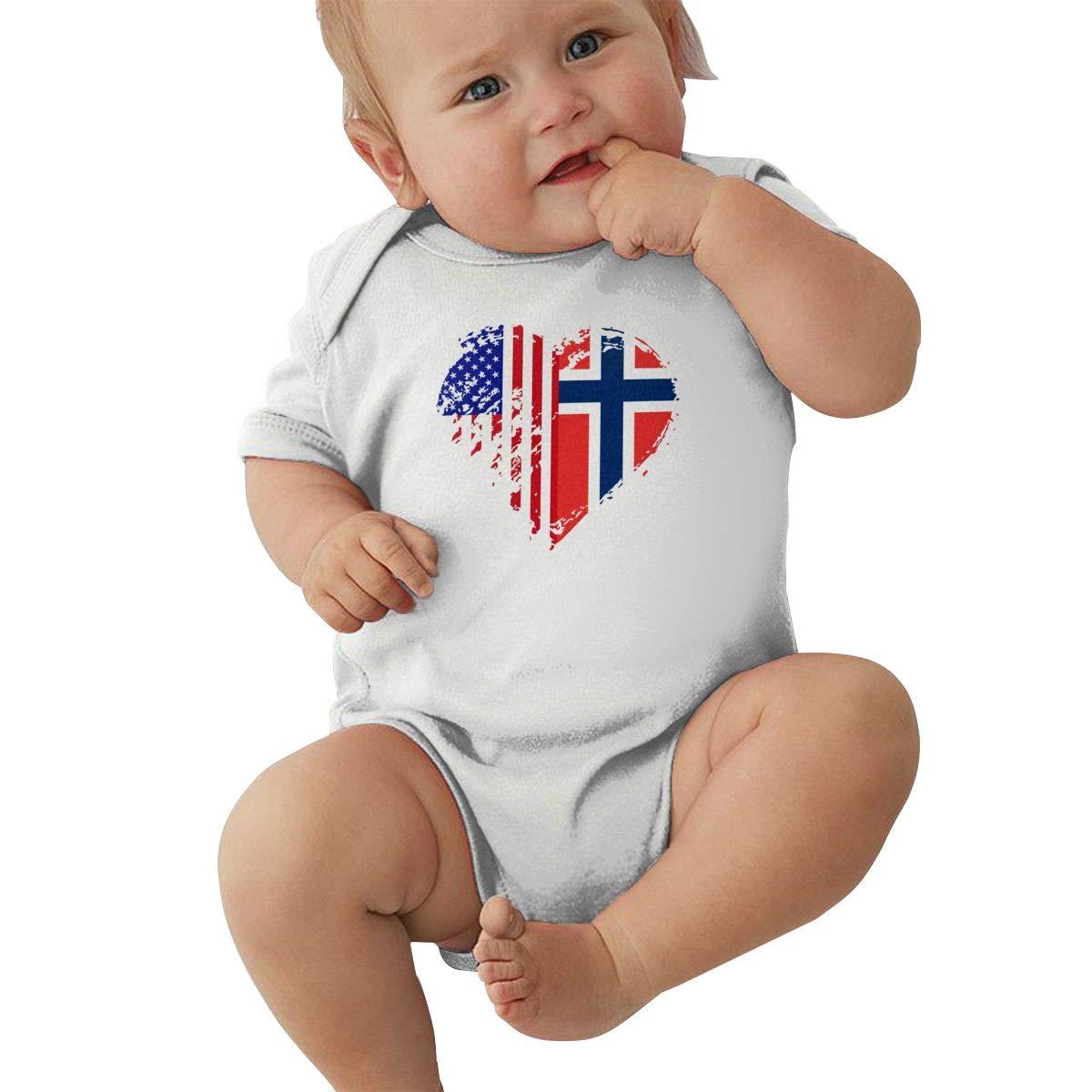 Mri-le2 Infant Short Sleeve Bodysuit Grungy Norway American Flag Heart Toddler Jumpsuit
