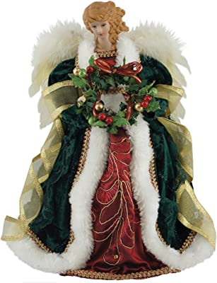"Santa's Workshop Christmas Angel Tree Topper, 16"" Tall, Red/Gold/Green"