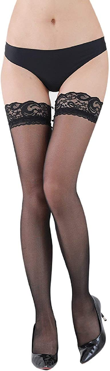 Womens Sheer Lace Thigh High Stockings,Silicone Non-Slip Hold Ups Stockings,15Denier semi-Opaque Lace Pantyhose