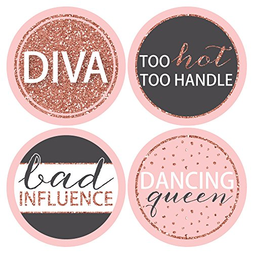 Bride Squad - Rose Gold Bridal Shower or Bachelorette Party Funny Name Tags - Party Badges Sticker Set of 12 Photo #5
