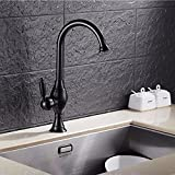 SJQKA-Hot and cold faucets, copper plumbing, roasted dark bronze, kitchen, antique sink hot water