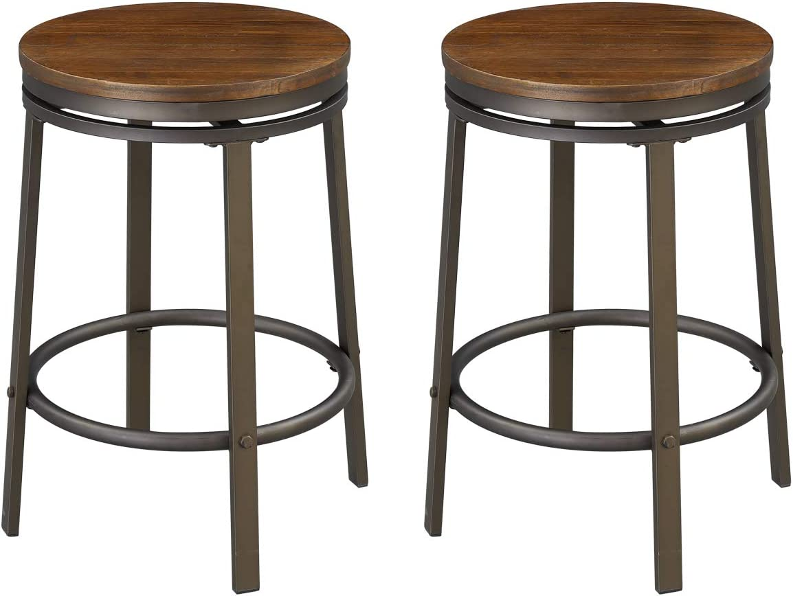 O K FURNITURE 24-Inch Backless Swivel Bar Stool