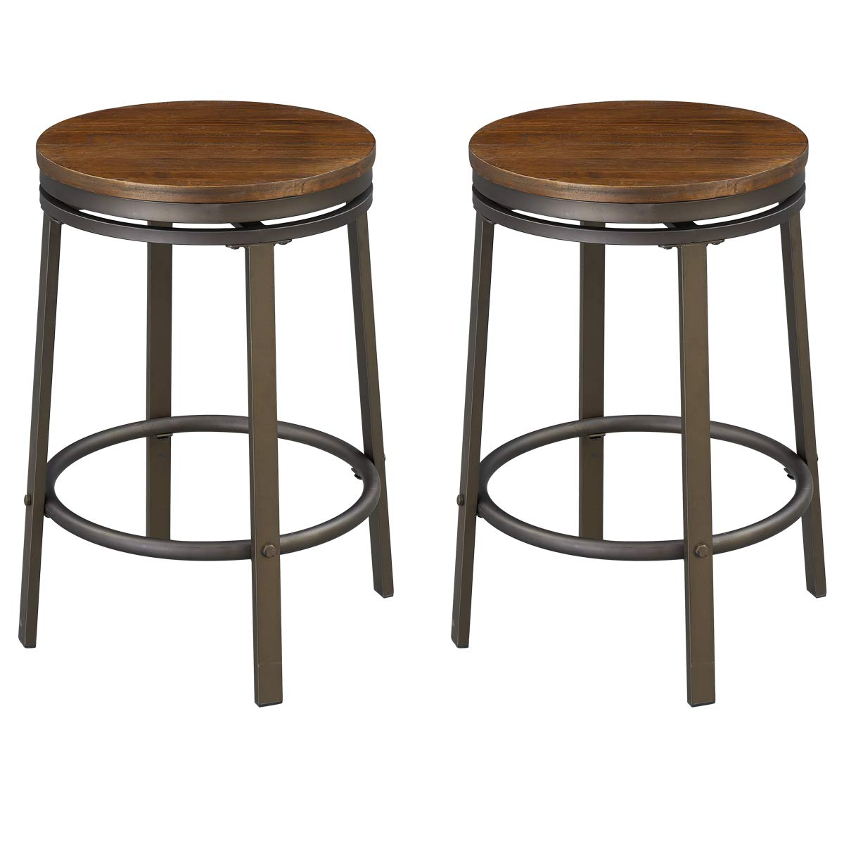 O&K FURNITURE 24-Inch Backless Swivel Bar Stool, Industrial Kitchen Counter Height Stool Chairs with Wooden Seat-Pub Height, Dark Brown, Set of 2 by O&K FURNITURE