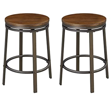 Pleasant Ok Furniture 24 Inch Backless Swivel Bar Stool Industrial Kitchen Counter Height Stool Chairs With Wooden Seat Pub Height Dark Brown Set Of 2 Gmtry Best Dining Table And Chair Ideas Images Gmtryco