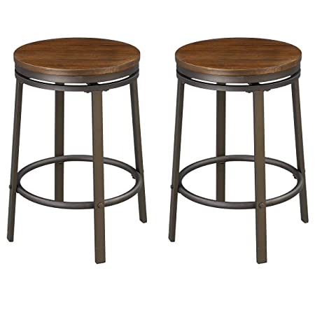 O K Furniture 24-Inch Backless Swivel Bar Stool, Industrial Kitchen Counter Height Stool Chairs with Wooden Seat-Pub Height, Dark Brown, Set of 2