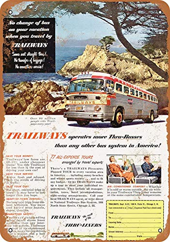 - Tengss 8 x 12 Metal Sign - 1952 Trailways Bus System - Vintage Look Reproduction