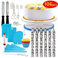 Cake Decorating Kit, 106 PCS Baking Supplies With 11 Inch Cake Turntable, cake sculpting tools Icing Tips, Cake Spatulas, Pastry Tools, Cutter, Cake Nozzles for Beginners and Professional