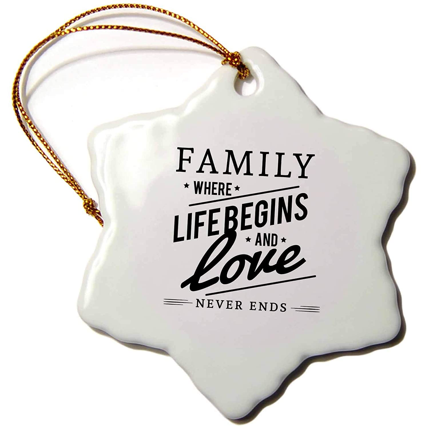 ORN/_254154/_1 3 inch Snowflake Porcelain Ornament Family Where Life Begins and Love Never Ends 3dRose Sven Herkenrath Letters