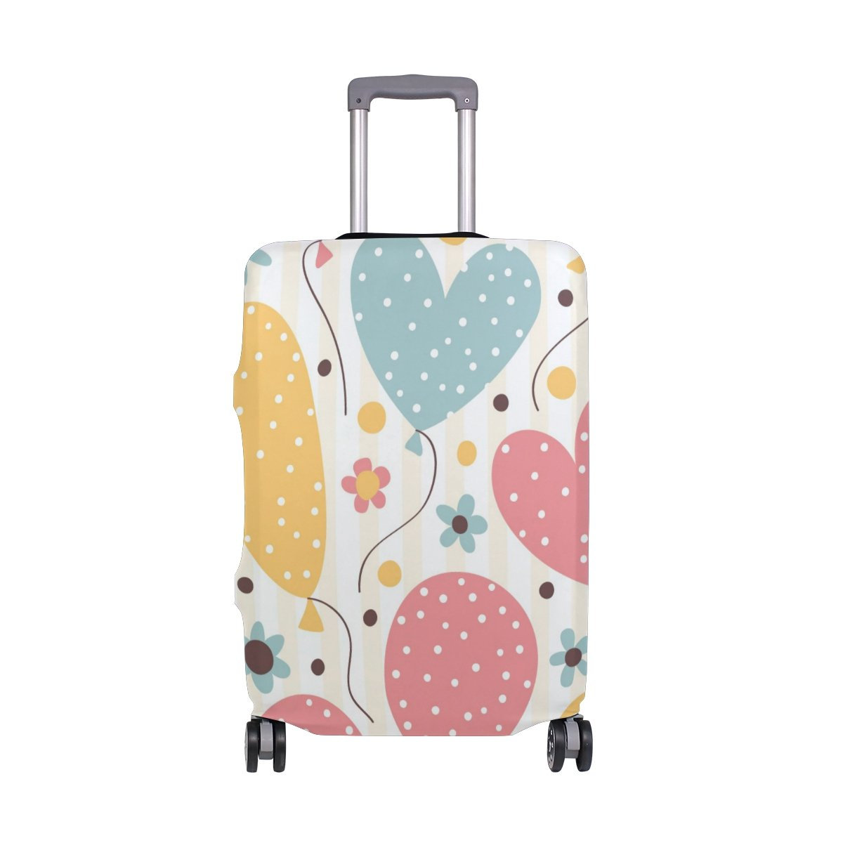 Cute Striped Birthday Love Heart Suitcase Luggage Cover Protector for Travel Kids Men Women