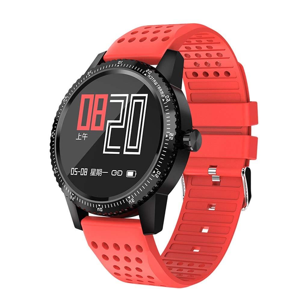YangMi Sports Bracelet- Student Smart Color Screen Sports Bracelet Multi-Function Monitoring Waterproof Bluetooth Bracelet Unisex (Color : Red)