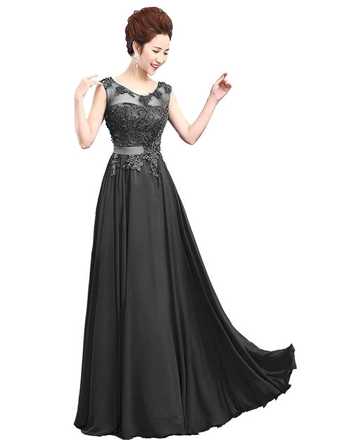 Amazon.com: Vantexi Womens Lace Appliqued Chiffon Formal Evening Dresses: Clothing