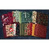 Christmas 2 Cotton Quilting Fabric Fat Quarters Assorted Colours - per pack of 4