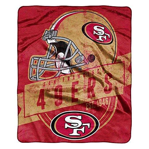 50x60 Royal Plush Blanket (San Francisco 49ers Blanket - 50 in x 60 in - Royal Plush Raschel Throw - Grandstand Design)