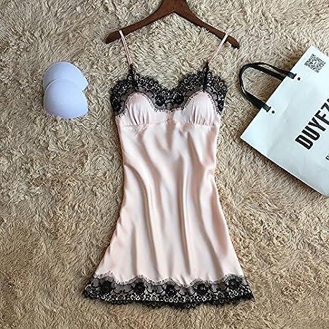 Wanglele Bata De Verano La Sra. Acolchado Tirantes De Seda Pijama Batas De Seda Tracksuits Camisón, Xl, Luz Rosa: Amazon.es: Hogar