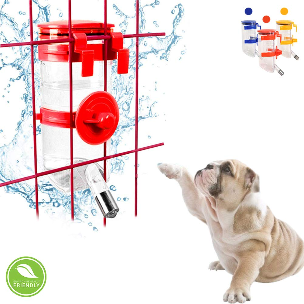 Dog Crate Water Bottle Dispenser - Automatic Water Drinking Feeder with Stainless Steel Ball, Leak-Proof Pet Water Bottle with Hook for Puppies, Cats, Bunnies and Other Small Animals(Red)