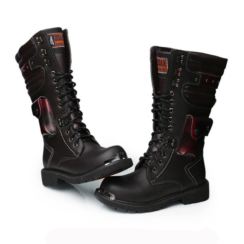 Shengjuanfeng Herren Schuhe Lace Up Rivet Detail Detail Detail Leder oberen Mitte Kalb Kampfstiefel für Herren Laufen eine Größe größer (Farbe   Schwarz, Größe   5 UK) b88e70