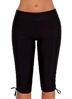 ALove Women Long Board Shorts High Waist Swim Capris UV Protection Swim Leggings