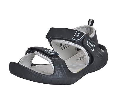 6c7c915256f Pro from Khadims Mens Black Faux Leather Floater Sandal - 10: Buy ...