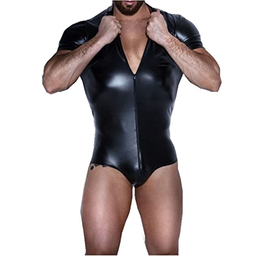 YiZYiF Men s Wet Look Patent Leather Leotard Bodysuit Zipper Catsuit  Clubwear Costume (Small