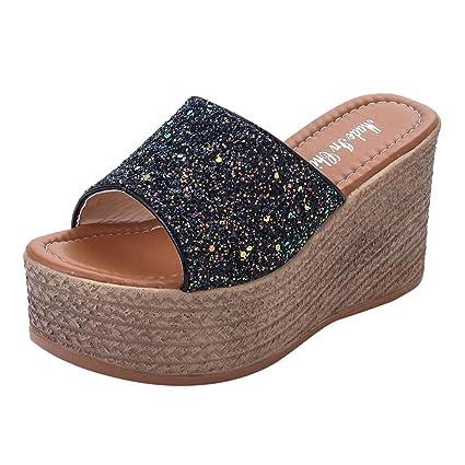 7120cf4870b Women Wedge Sandals Casual Platform Sandals Peep Toe Soft Comfortable Shoes  (Black