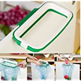 MosQuick® Plastic Garbage Bag Holder/Dustbin (Green)(with Side Clips for Better Grip) for Kitchen/Office/Clincs/Schools