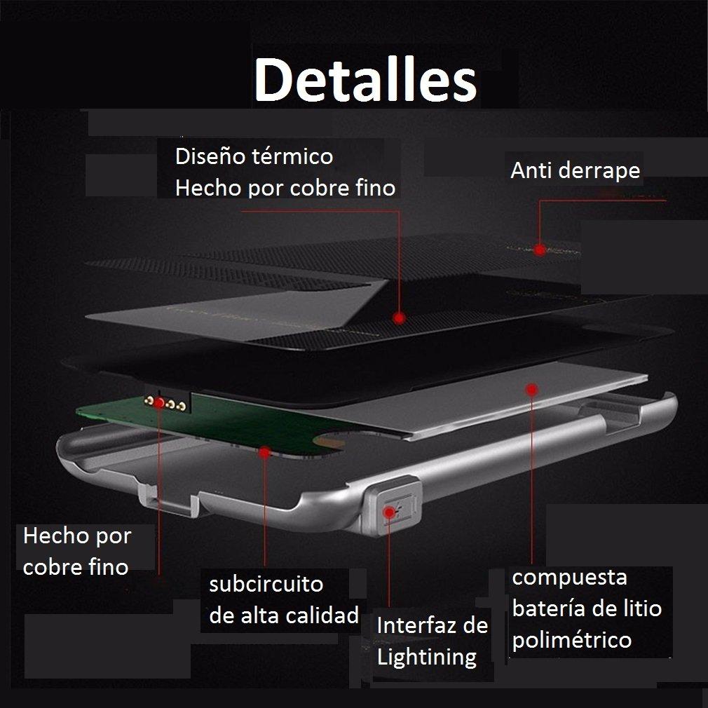 Funda Batería Extra Ultra Delgada 2000Mah para iPhone 6 Plus/6S Plus 5,5 Pulgadas Cargador Batería External Recargable Carcasa Protectora de Navline-Gris: ...