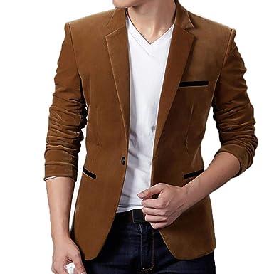 URSING Herren Sakko Anzugjacken Herbst Winter Casual Cord Slim Fit Langarm  Mantel Anzug Jacke Classic Blazer 15d8e6d53e