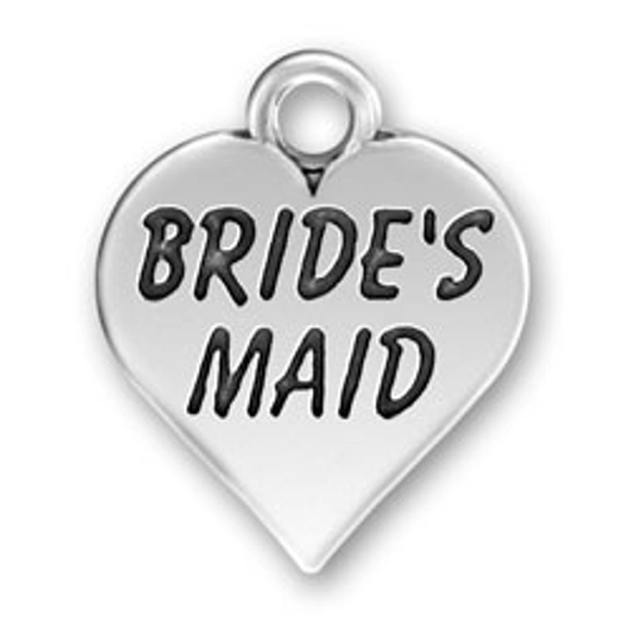 Sterling Silver Girls .8mm Box Chain Brides Maid Heart Pendant Necklace