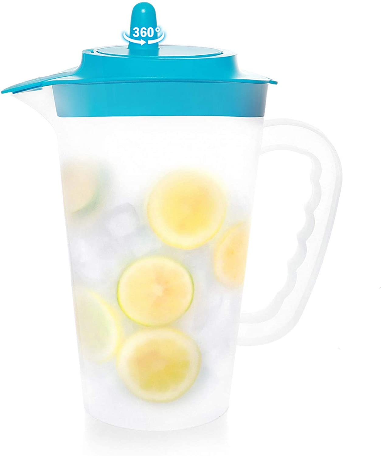COYMOS Mixing Pitcher 2.4 qt Large Plastic Pitcher with Lid Iced Tea Pitcher for Fridge, Translucent, Great for Lemon Juice, Ice Tea, Fruit Tea, Gift for Chef