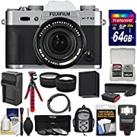 Fujifilm X-T10 Digital Camera & 18-55mm XF Lens (Silver) with 64GB Card + Backpack + Flash + Battery & Charger + Tripod + Tele/Wide Lens Kit Key Pieces Review Image
