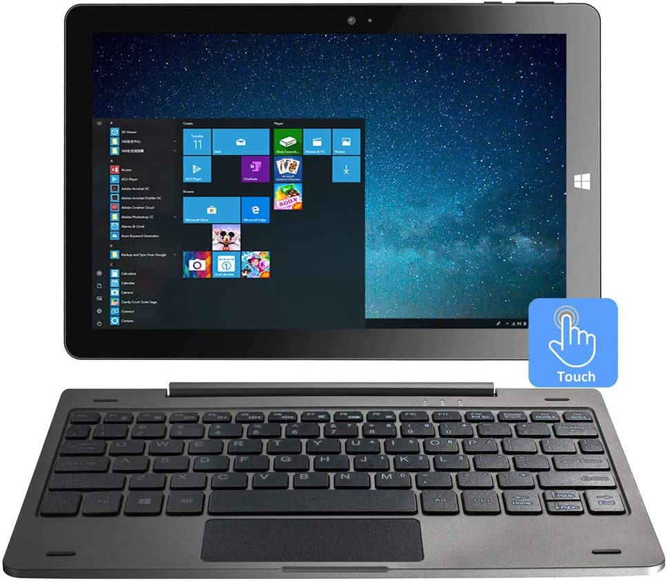 10.1 Inch Windows 10 Tablet 2-in-1 Touchscreen Mini Laptop with Detachable Keyboard/IPS 1280x800 /4GB RAM /32GB ROM/Dual Webcam/Bluetooth 4.2/WiFi/HDMI/Micro SD